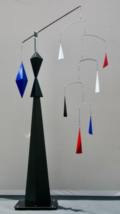 Sculpture, Indoor, Outdoor, Kinetic, Steel, Polished, Blue, Red, Black