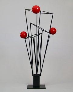 Circular, Red, Black, Steel, Outdoor, Indoor, Kinetic, Architectural, Sculpture,