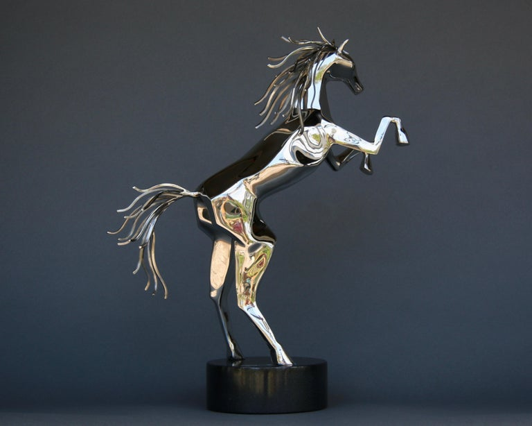 Sculpture, Horse, Stainless Steel, Movement, Standing, Spirit Animal - Black Abstract Sculpture by Amos Robinson