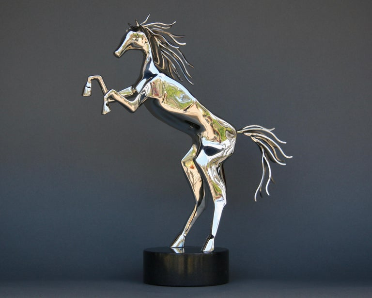 Amos Robinson Abstract Sculpture - Sculpture, Horse, Stainless Steel, Movement, Standing, Spirit Animal