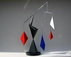 Sculpture, Kinetic, Steel, Polished, Mirror, Balance, Red, Black, Circular