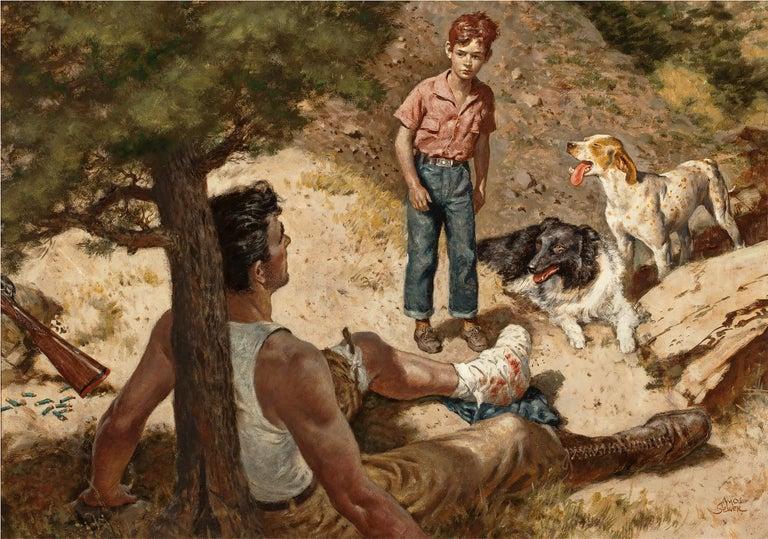 Amos Sewell Figurative Painting - The 11 Gauge Shotgun - Saturday Evening Post illustration