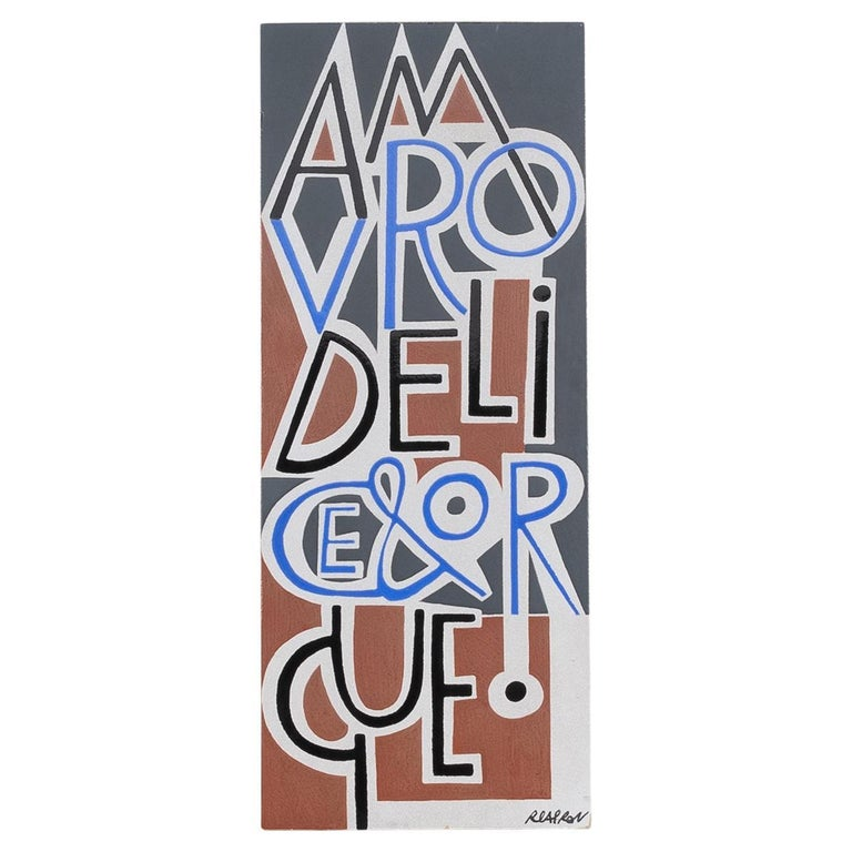 Amour, Délice, Orgue by Roger Capron, Glazed Ceramic Wall Plaque, Vallauris For Sale