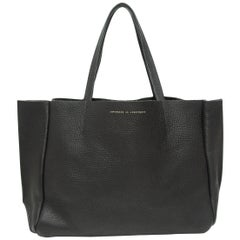 Ampersand As Apostrophe Black Leather Tote Bag