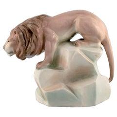Amphora, Czechoslovakia, Hand-Painted Art Deco Porcelain Figurine of a Lion