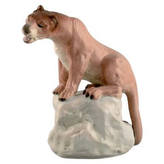 Amphora, Czechoslovakia, Hand-Painted Porcelain Figurine of Lioness on Rock