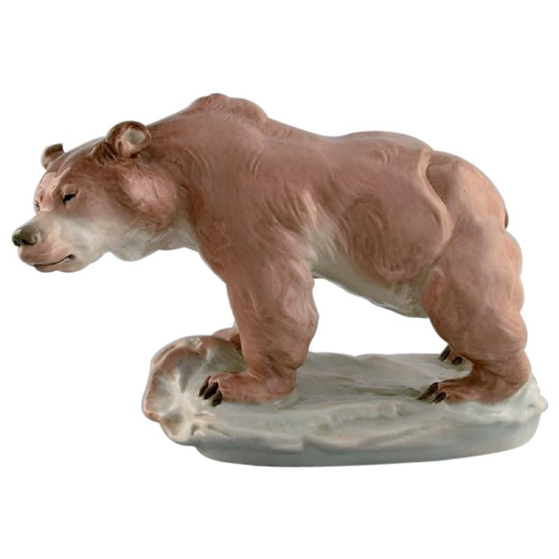 Amphora, Czechoslovakia, Large Hand-Painted Porcelain Figure of Bear, 1930/40's