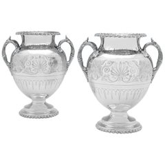 Amphora Shaped Neoclassical Revival Silver Plated Pair of Wine Coolers from 1855