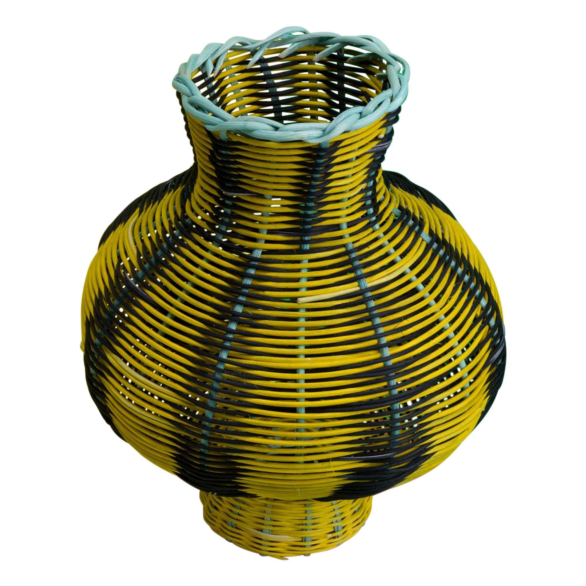 Amphora Vase Woven in Lemon, Black, Green by Studio Herron