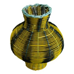 Amphora Vase Woven in Lemon, Black, Green by Studio Herron