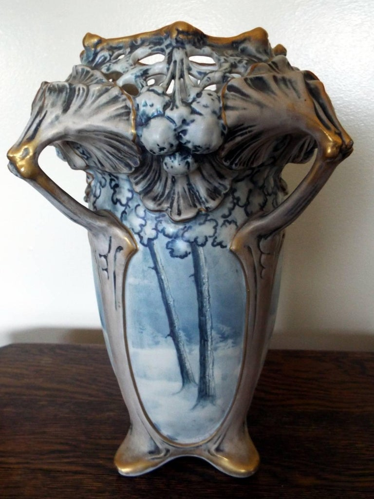Hand-Painted Amphora Winter Snow Art Nouveau Vase by Ernst Wahliss For Sale