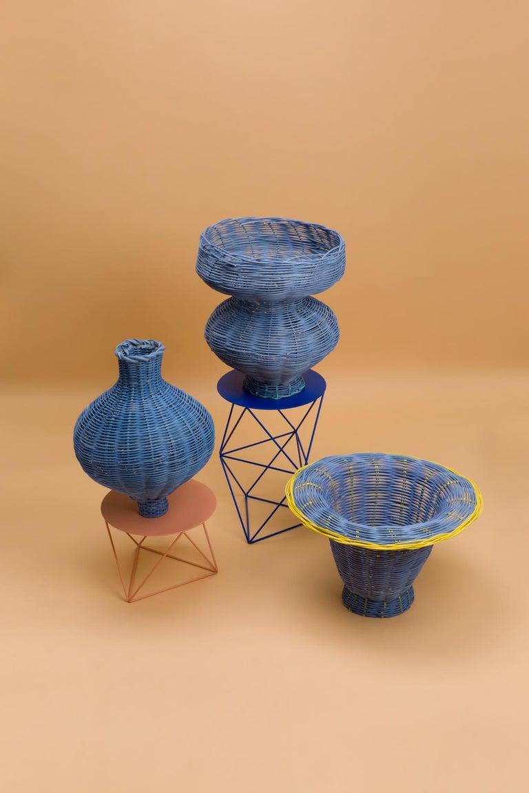American Amphora Vase Woven in Denim by Studio Herron For Sale