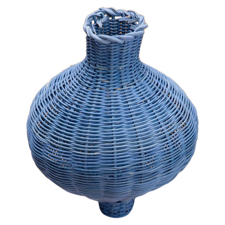 Amphora Vase Woven in Denim by Studio Herron For Sale