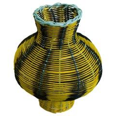 Amphora Woven Vase in Lemon/Black/Emerald by Studio Herron