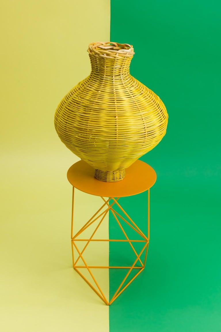Modern Amphora Vase Woven in Lemon by Studio Herron For Sale