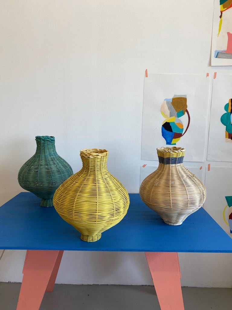Contemporary Amphora Vase Woven in Lemon by Studio Herron For Sale