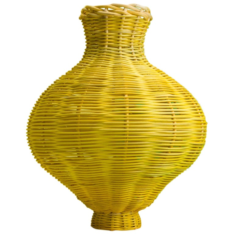 Amphora Vase Woven in Lemon by Studio Herron For Sale