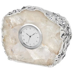 Ampliar Clock in Crystal and Silver by ANNA New York