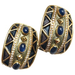 AMR Shaker Sapphire Cabochon, Diamond and 18 Carat Gold Earrings