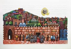 BAR MITZVAH AT THE WESTERN WALL (JUDAICA ART)