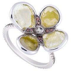 Amrapali Jewels 14 Karat Gold, Light Yellow and White Diamond Ring