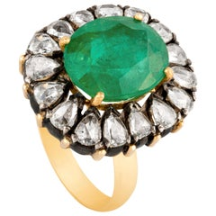 Amrapali Jewels 18 Karat Gold and 925 Sterling Silver, Emerald and Diamond Ring