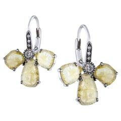 Amrapali Jewels 18 Karat Gold, Light Yellow and White Diamond Earrings