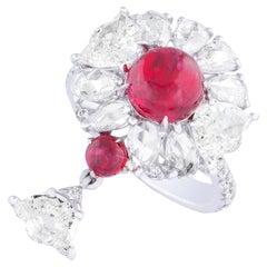Amrapali Jewels 18 Karat Gold, Ruby 'Burma No Heat' and Diamond Ring