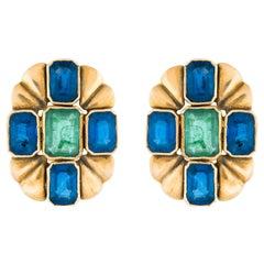 Amrapali Jewels 18 Karat Gold, Sapphire and Emerald Earrings