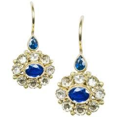 Amrapali Jewels 18 Karat Yellow Gold, Blue Sapphire and Diamond Earrings