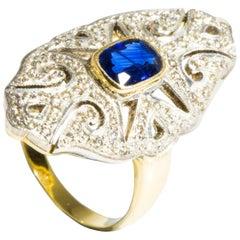 Amrapali Jewels 18 Karat Yellow Gold, Blue Sapphire and Diamond Ring