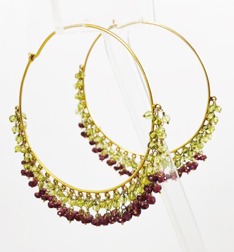 Contemporary Amrita Singh Large Gold Hoop Earrings with Peridot and Garnet For Sale