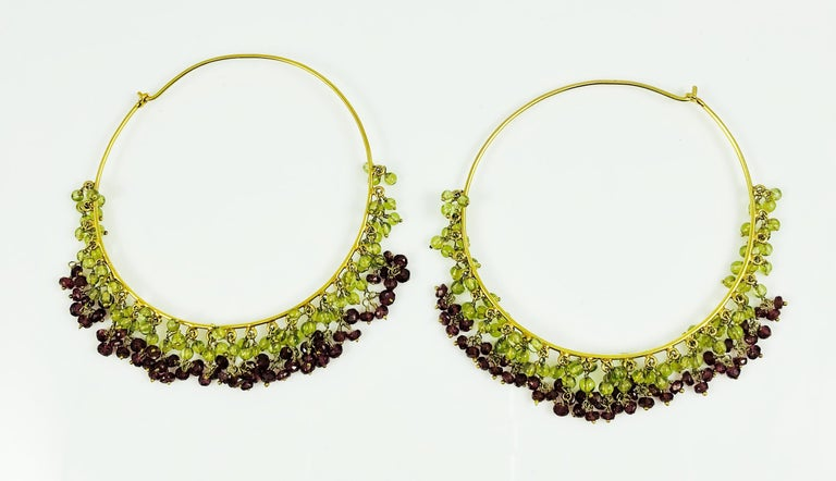 Amrita Singh Large Gold Hoop Earrings with Peridot and Garnet In Excellent Condition For Sale In Birmingham, AL