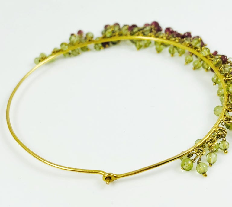 Amrita Singh Large Gold Hoop Earrings with Peridot and Garnet For Sale 1
