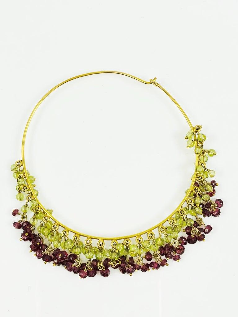 Amrita Singh Large Gold Hoop Earrings with Peridot and Garnet For Sale 2
