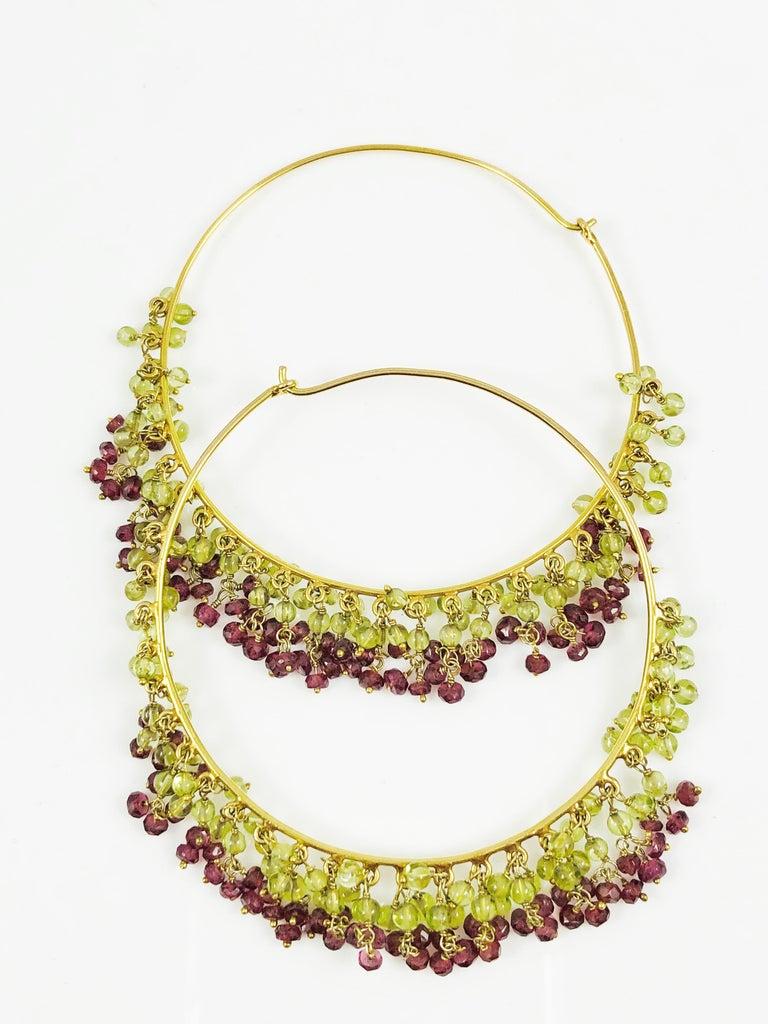 Amrita Singh Large Gold Hoop Earrings with Peridot and Garnet For Sale 3