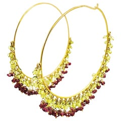 Amrita Singh Large Gold Hoop Earrings with Peridot and Garnet