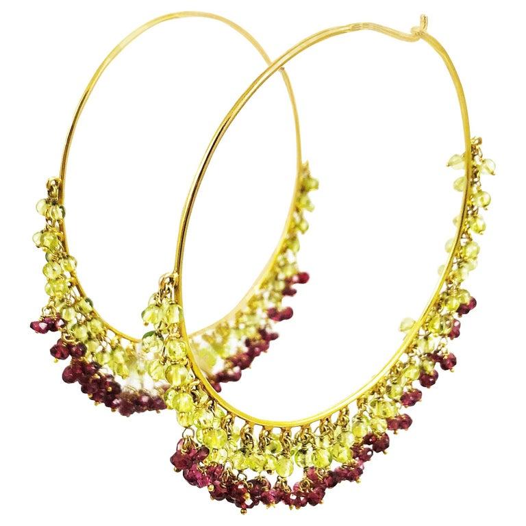 Amrita Singh Large Gold Hoop Earrings with Peridot and Garnet For Sale
