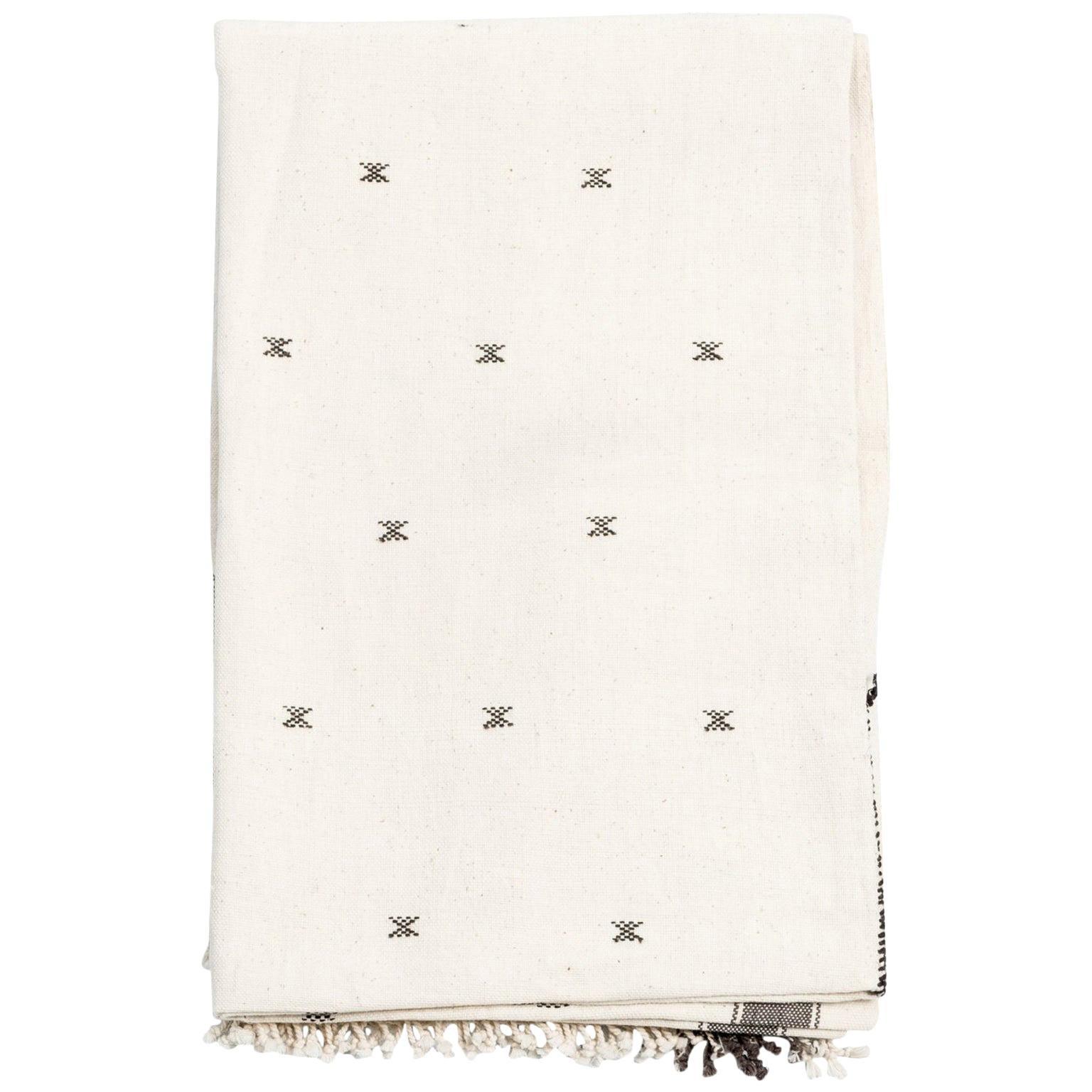 Amro Handloom King Size Bedpsread Coverlet Black & White, in Organic Cotton