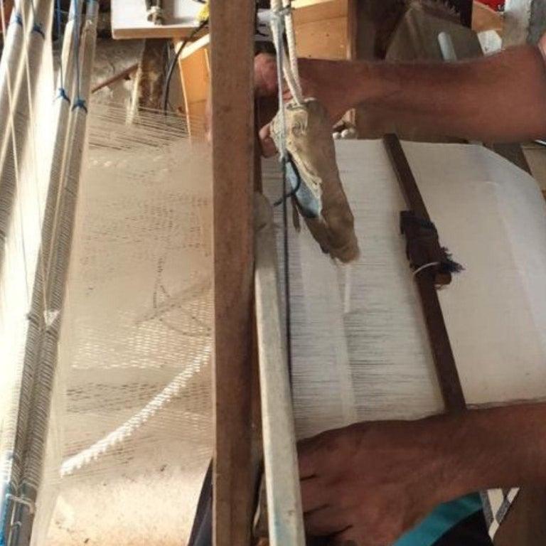 AMRO Handloom Throw / Blanket , Black & White Minimal Motifs  In Organic Cotton For Sale 7