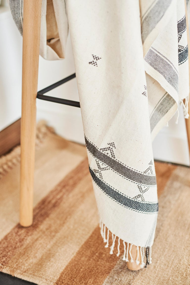 Indian  AMRO Handloom Throw / Blanket , Black & White Minimal Motifs  In Organic Cotton For Sale