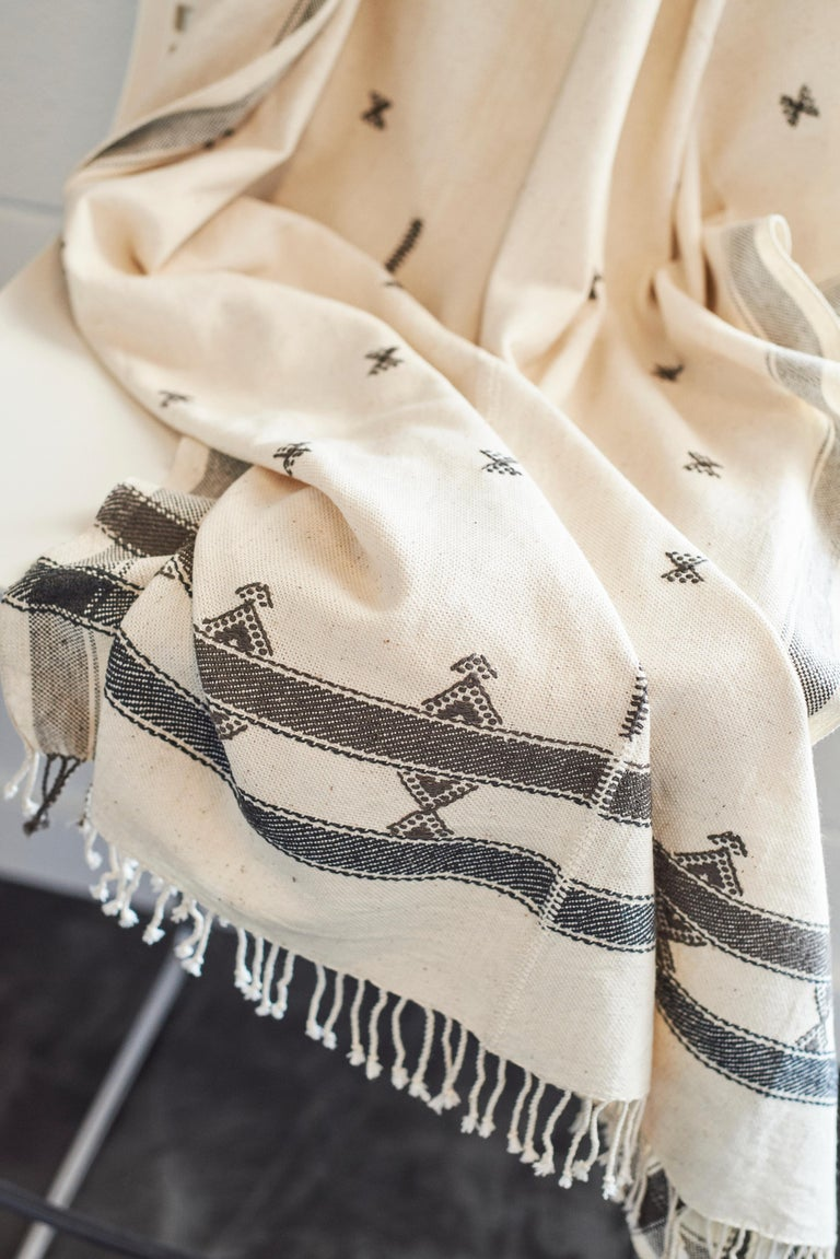 Yarn  AMRO Handloom Throw / Blanket , Black & White Minimal Motifs  In Organic Cotton For Sale