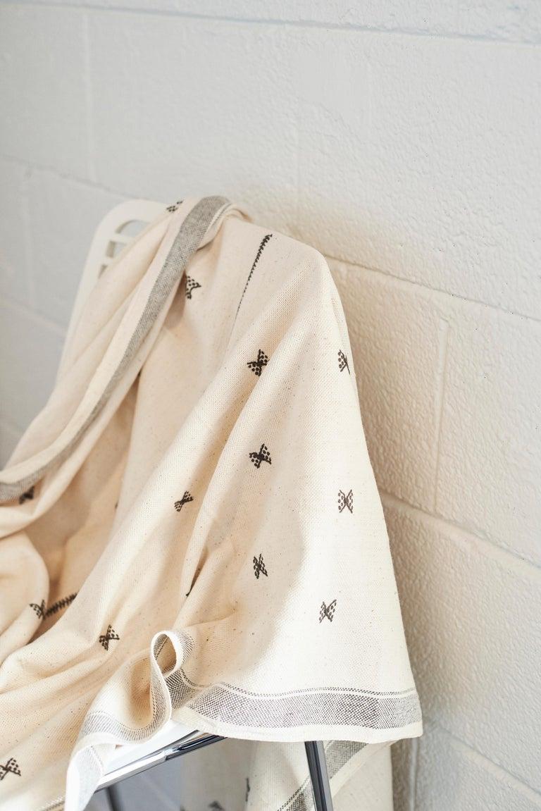 AMRO Handloom Throw / Blanket , Black & White Minimal Motifs  In Organic Cotton For Sale 1