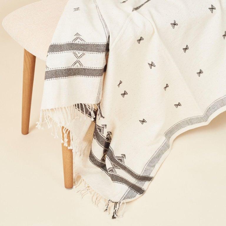Modern  AMRO Handloom Throw / Blanket , Black & White Minimal Motifs  In Organic Cotton For Sale