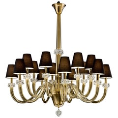 Amsterdam 5562 14 Chandelier in Gold Glass with Brown Shade, by Barovier&Toso
