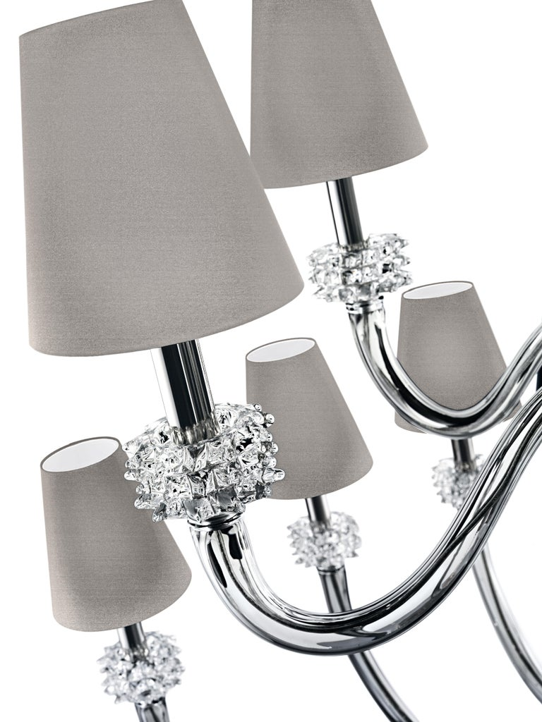 Amsterdam 5562 18 Chandelier in Chrome & Glass, Black Shade, by Barovier&Toso For Sale 2