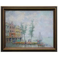 Amsterdam Oil Painting, Flower Market, Iras Baldessari, 1940