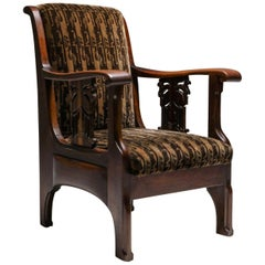 Amsterdam School Armchair in Coromandel Wood and Tuchinksi Fabric