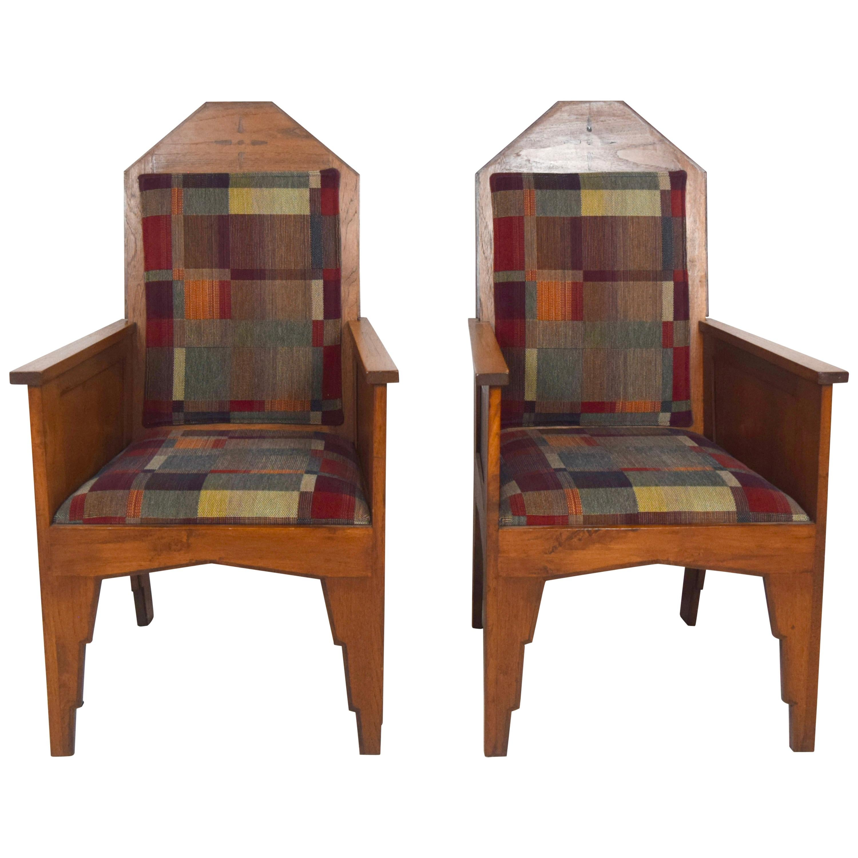 Amsterdam School Armchairs, Indonesia 1920s, Set of 2