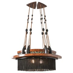 Amsterdam School Chandelier in Ebony, Carved Wood, Glass in Lead and Silk